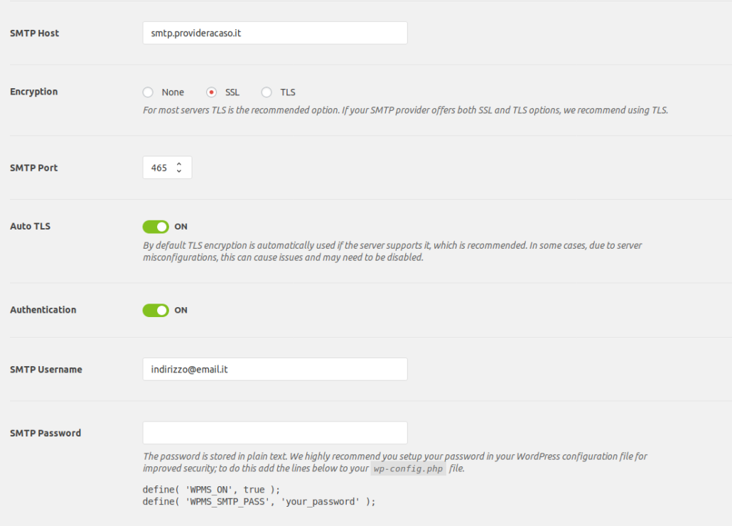 Impostazioni parametri login per wp mail smtp