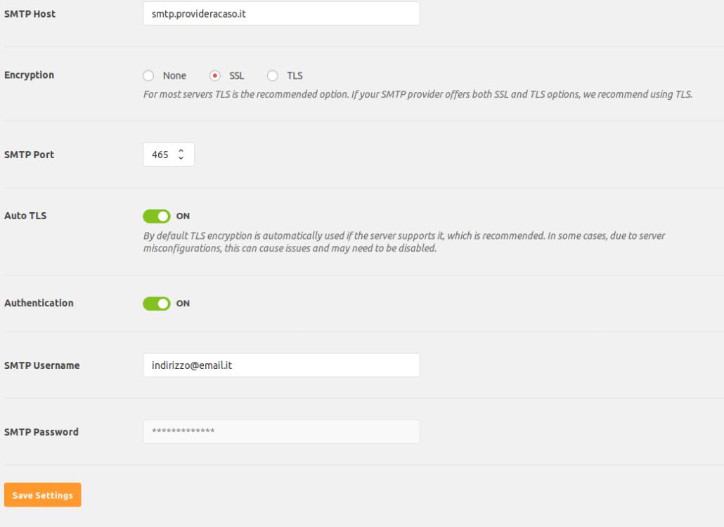 Impostazioni parametri login per wp mail smtp con le define