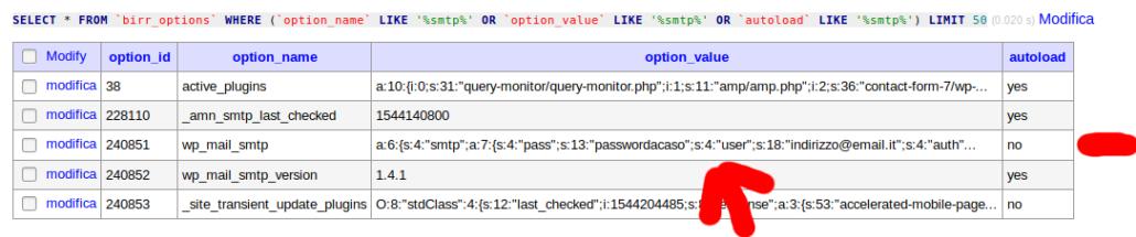 Wp mail smt parametri nel db anche dopo la define